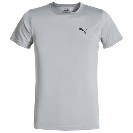 Puma Heathered High-Performance T-Shirt - Short Sleeve (For Little Boys) in Lt Heather Grey