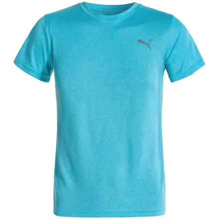 Puma Heathered T-Shirt - Short Sleeve (For Big Boys) in Powder Blue Heather - Closeouts