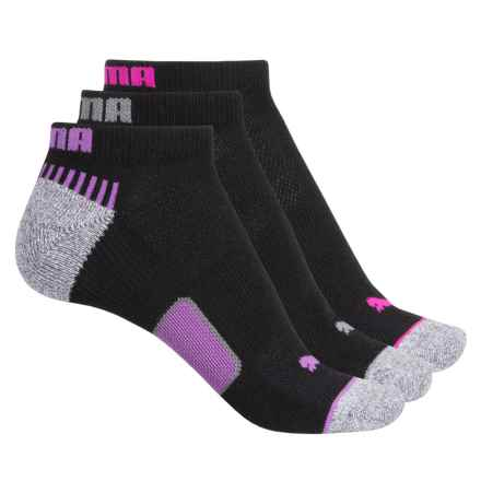 Puma Heel-Toe Cushioned Terry Socks - 3-Pack, Below the Ankle (For Women) in Black/Purple - Closeouts
