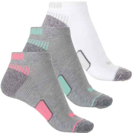 Puma Heel-Toe Cushioned Terry Socks - 3-Pack, Below the Ankle (For Women) in Medium Grey - Closeouts