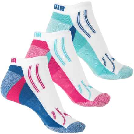 Puma Heel-Toe Cushioned Terry Socks - 3-Pack, Below the Ankle (For Women) in White / Light Blue - Closeouts