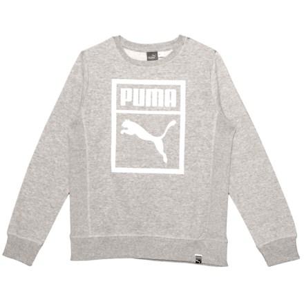 3bc924292b40 Puma Heritage Fleece Sweatshirt (For Big Boys) in Light Heather Grey -  Closeouts