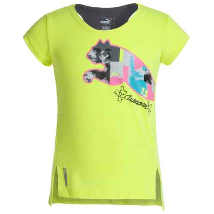 Puma Hi-Lo T-Shirt - Crew Neck, Short Sleeve (For Little Girls) in Soft Flou Yellow - Closeouts