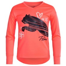 Puma High-Low Shirt - Long Sleeve (For Big Girls) in Fiery Coral - Closeouts