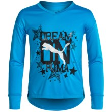 Puma High-Low Shirt - Long Sleeve (For Big Girls) in Skate Blue - Closeouts