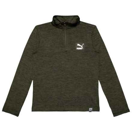Puma High-Performance Pullover Shirt - Zip Neck, Long Sleeve (For Big Boys) in Forest Night Heather - Closeouts