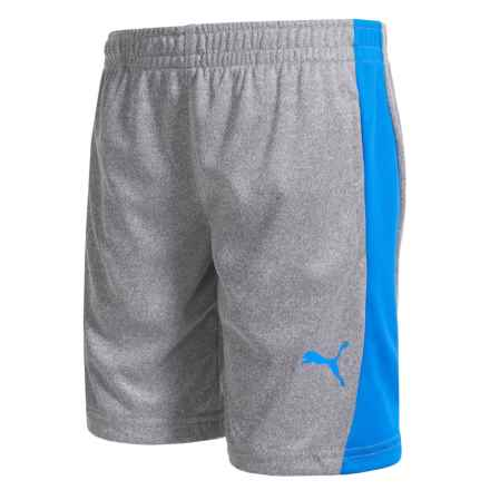 Puma High-Performance Side Stripe Shorts (For Little Boys) in Light Heather Grey - Closeouts