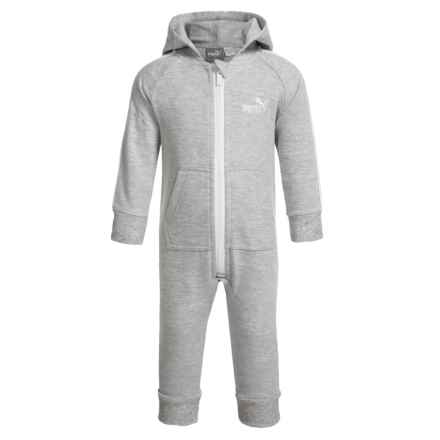 Puma Hooded Baby Bodysuit - Long Sleeve (For Infants) in Grey/White - Closeouts