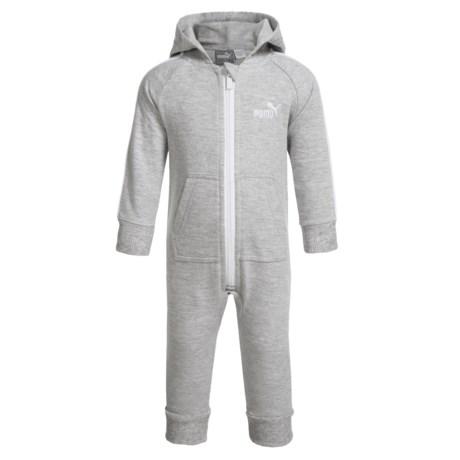 Puma Hooded Baby Bodysuit - Long Sleeve (For Infants) in Grey/White