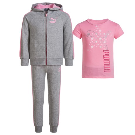 Puma Hoodie, Shirt and Pants Set (For Toddler Girls) in Grey/Pink