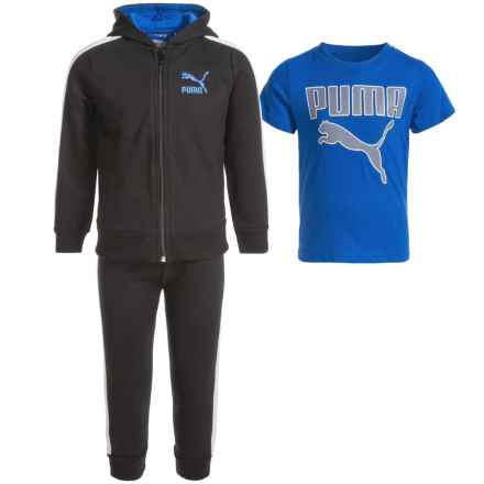 Puma Hoodie, T-Shirt and Pants Set (For Toddlers) in Black/Blue/White P001 - Closeouts