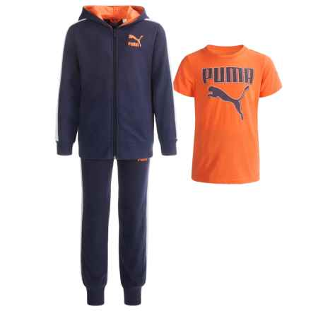 Puma Hoodie, T-Shirt and Pants Set (For Toddlers) in Blue/Orange/White P490 - Closeouts