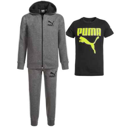 Puma Hoodie, T-Shirt and Pants Set (For Toddlers) in Po11 Charcoal/Heather - Closeouts