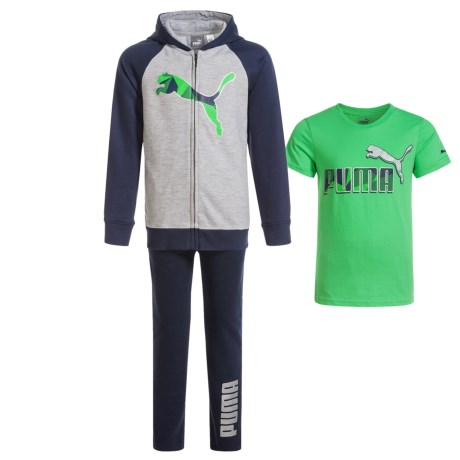 Puma Hoodie, T-Shirt and Sweatpants Set - 3-Piece (For Little Boys) in Green/Grey/Blue