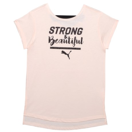 Puma Jersey Scoop-Back T-Shirt - Short Sleeve (For Big Girls) in Pearl