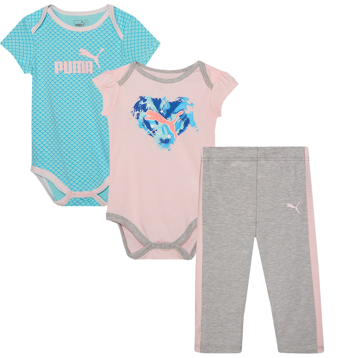 Puma Logo Bodysuits and Joggers Set For Infant Girls Save