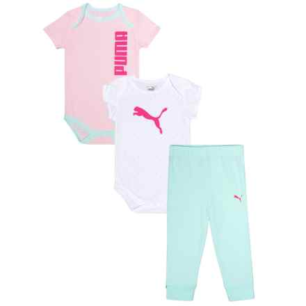 Puma Logo Bodysuits and Joggers Set - 3-Piece, Short Sleeve (For Infant Girls) in Puma White - Closeouts