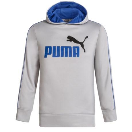 Puma Logo Fleece Hoodie (For Boys) in Fog Grey