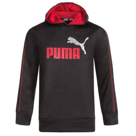 Puma Logo Fleece Hoodie (For Boys) in Red/Black - Closeouts