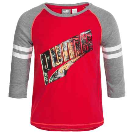 Puma Logo Graphic Shirt - Long Sleeve (For Big Girls) in Play Red - Closeouts