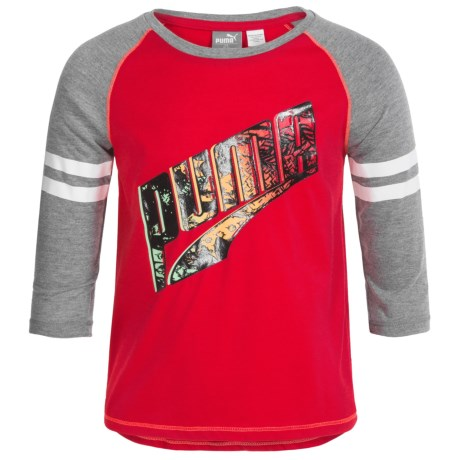 Puma Logo Graphic Shirt - Long Sleeve (For Big Girls) in Play Red