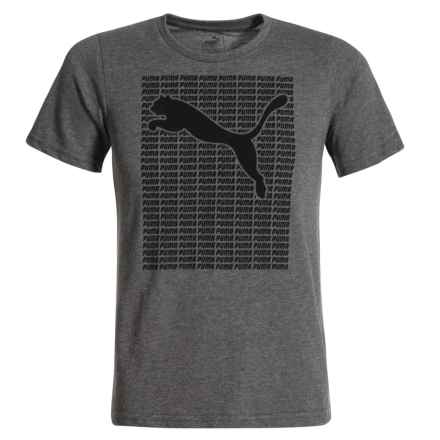 Puma Logo Graphic T-Shirt - Short Sleeve (For Big Boys) in Charcoal Heather - Closeouts