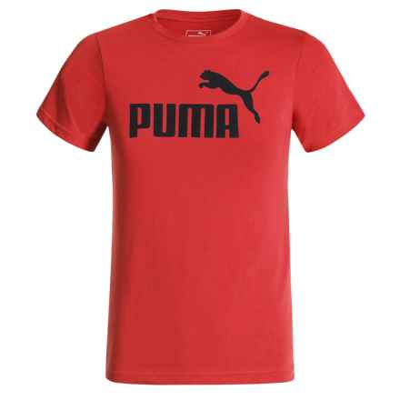 Puma Logo Graphic T-Shirt - Short Sleeve (For Big Boys) in Flame Scarlet - Closeouts