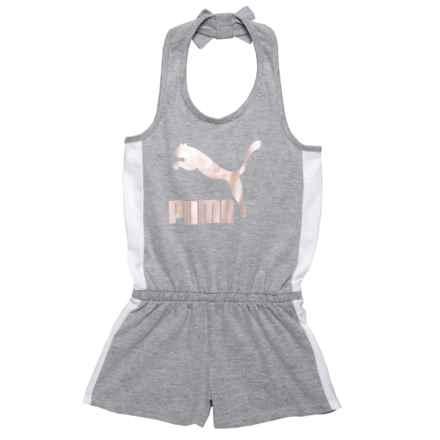 Puma Logo Halter Romper - Sleeveless (For Big Girls) in Light Heather Grey - Closeouts