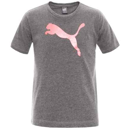 Puma Logo Jersey T-Shirt - Short Sleeve (For Big Girls) in Med Heather Grey - Closeouts