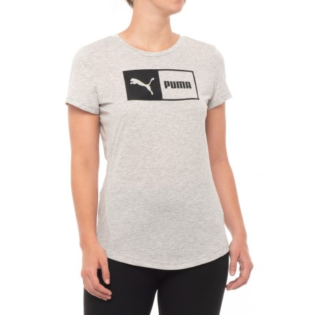 Puma Logo Split T-Shirt - Short Sleeve (For Women) in Light Gray Heather-Black
