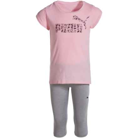 Puma Logo T-Shirt and Capris Set - Short Sleeve (For Little Girls) in Almond Blossom - Closeouts