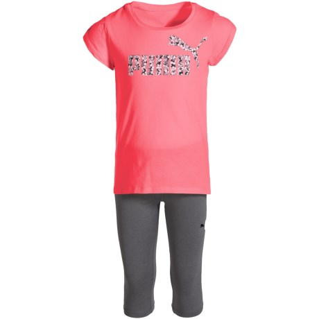Puma Logo T-Shirt and Capris Set - Short Sleeve (For Little Girls) in Bright Plasma