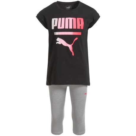 Puma Logo T-Shirt and Capris Set - Short Sleeve (For Toddler Girls) in Puma Black