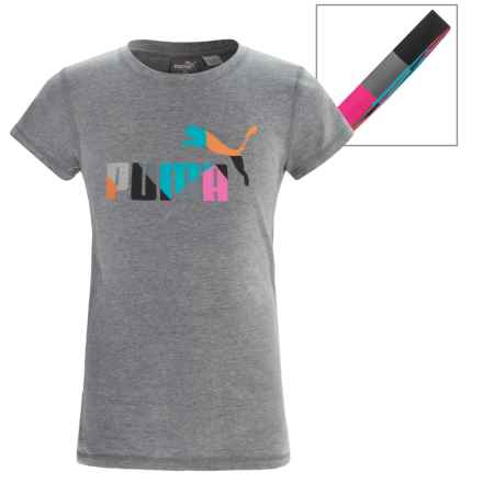 Puma Logo T-Shirt and Headband Set - Short Sleeve (For Big Girls) in Medium Heather Grey - Closeouts