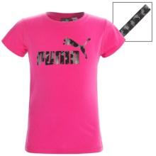 Puma Logo T-Shirt and Headband Set - Short Sleeve (For Big Girls) in Pink Glo - Closeouts