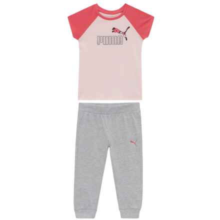 Puma Logo T-Shirt and Pant Joggers Set - Short Sleeve (For Toddler Girls) in Pearl Pink - Closeouts