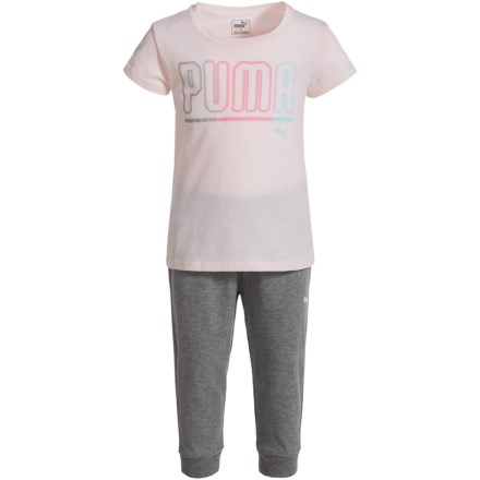 f490f0fd54 Puma Logo T-Shirt and Pant Joggers Set - Short Sleeve (For Toddler Girls