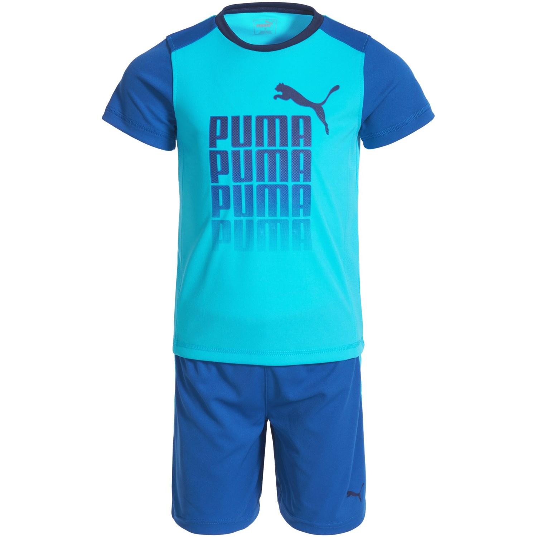 Puma Logo T Shirt and Shorts Set For Toddler Boys Save