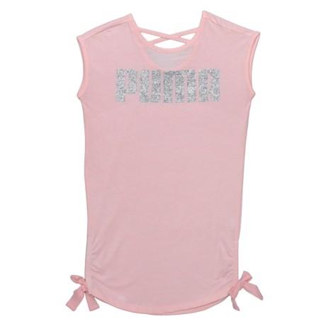 Puma Logo T-Shirt Dress - Short Sleeve (For Big Girls) in Pearl