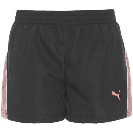 Puma Mesh Overlay Athletic Shorts - Built-in Briefs (For Big Girls) in Puma Black - Closeouts