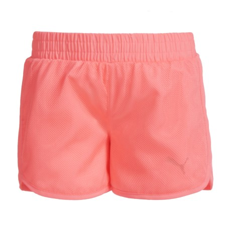 Puma Mesh Overlay Athletic Shorts - Built-In Briefs (For Little Girls) in Soft Flu Peach