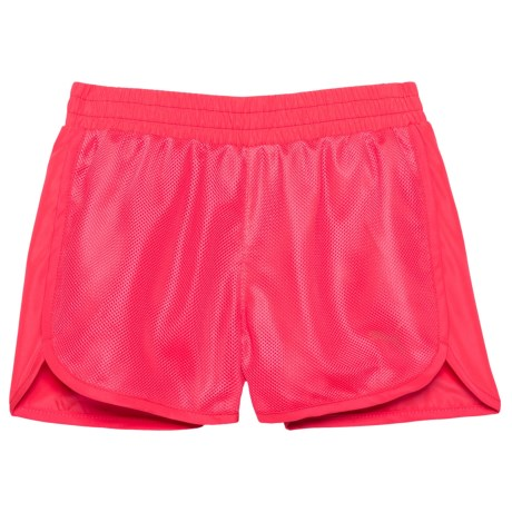 Puma Mesh Overlay Shorts (For Little Girls) in Bright Plasma