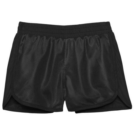 Puma Mesh Overlay Shorts (For Little Girls) in Puma Black