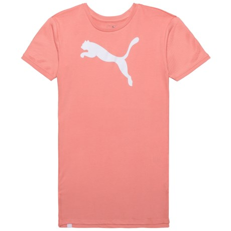 Puma Mesh Sleeve T-Shirt Dress - Short Sleeve (For Big Girls) in Shell Pink