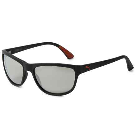 Puma Modern Wrap Sunglasses (For Men and Women) in Black/Black/Silver - Closeouts