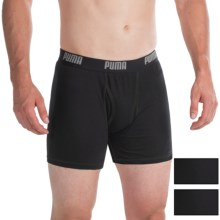 Puma Moisture-Wicking Cotton Boxer Briefs - 3-Pack (For Men) in Black - Closeouts