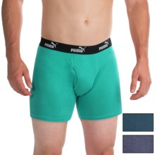 Puma Moisture-Wicking Cotton Boxer Briefs - 3-Pack (For Men) in Teal/Grey/Navy - Closeouts