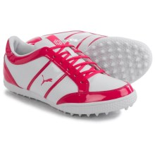 Puma Monolite Cat Golf Shoes -Vegan Leather (For Women) in White/Raspberry - Closeouts