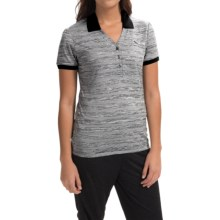 Puma Multi-Stripe Polo Shirt - Short Sleeve (For Women) in White/Black - Closeouts