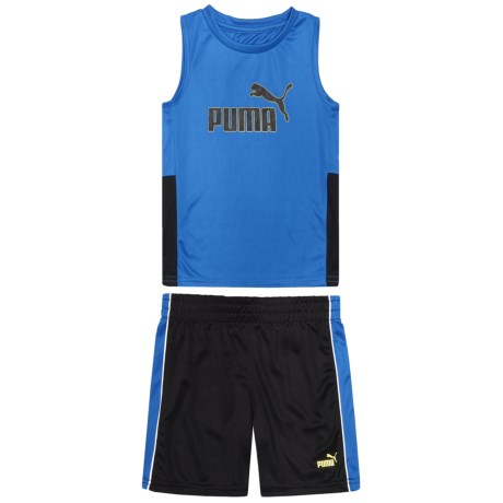Puma Muscle T-Shirt and Shorts Set - Sleeveless (For Toddler Boys) in Turkish Sea